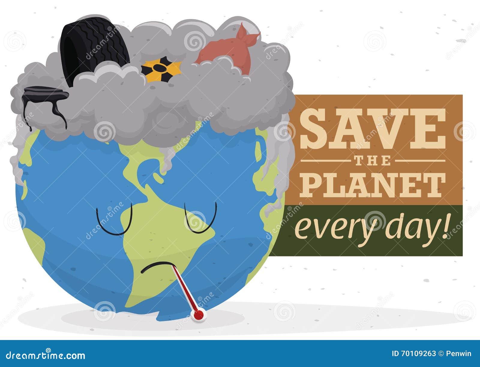 Campanha contra a contaminação com um mundo e um lixo tristes, ilustração do vetor
