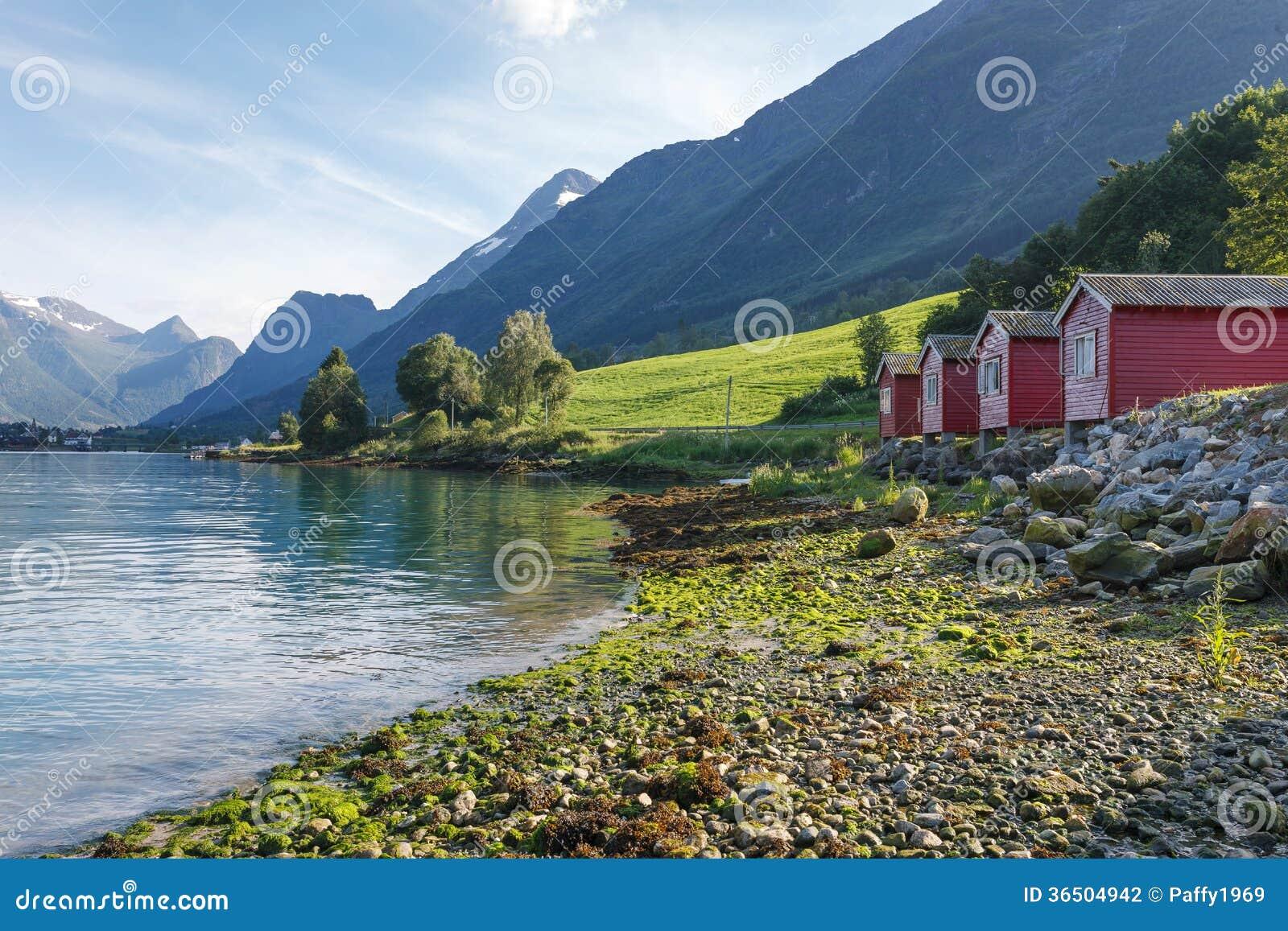 Campant sur le rivage de Nordfjord, la Norvège