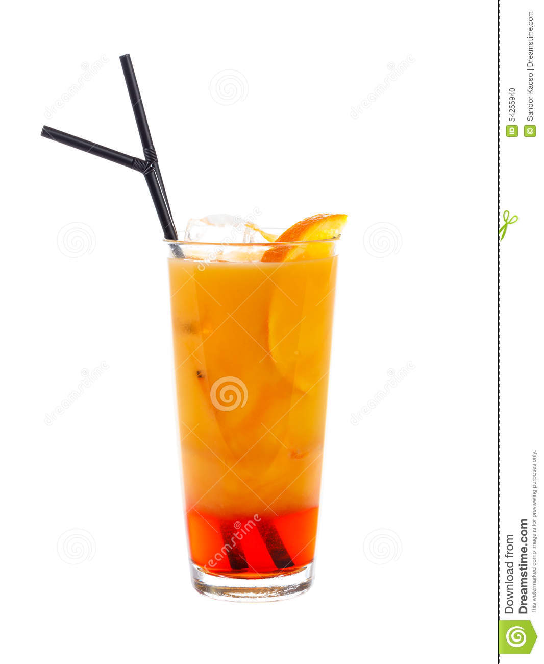 special cocktail with orange juice and orange slices and bitter ...