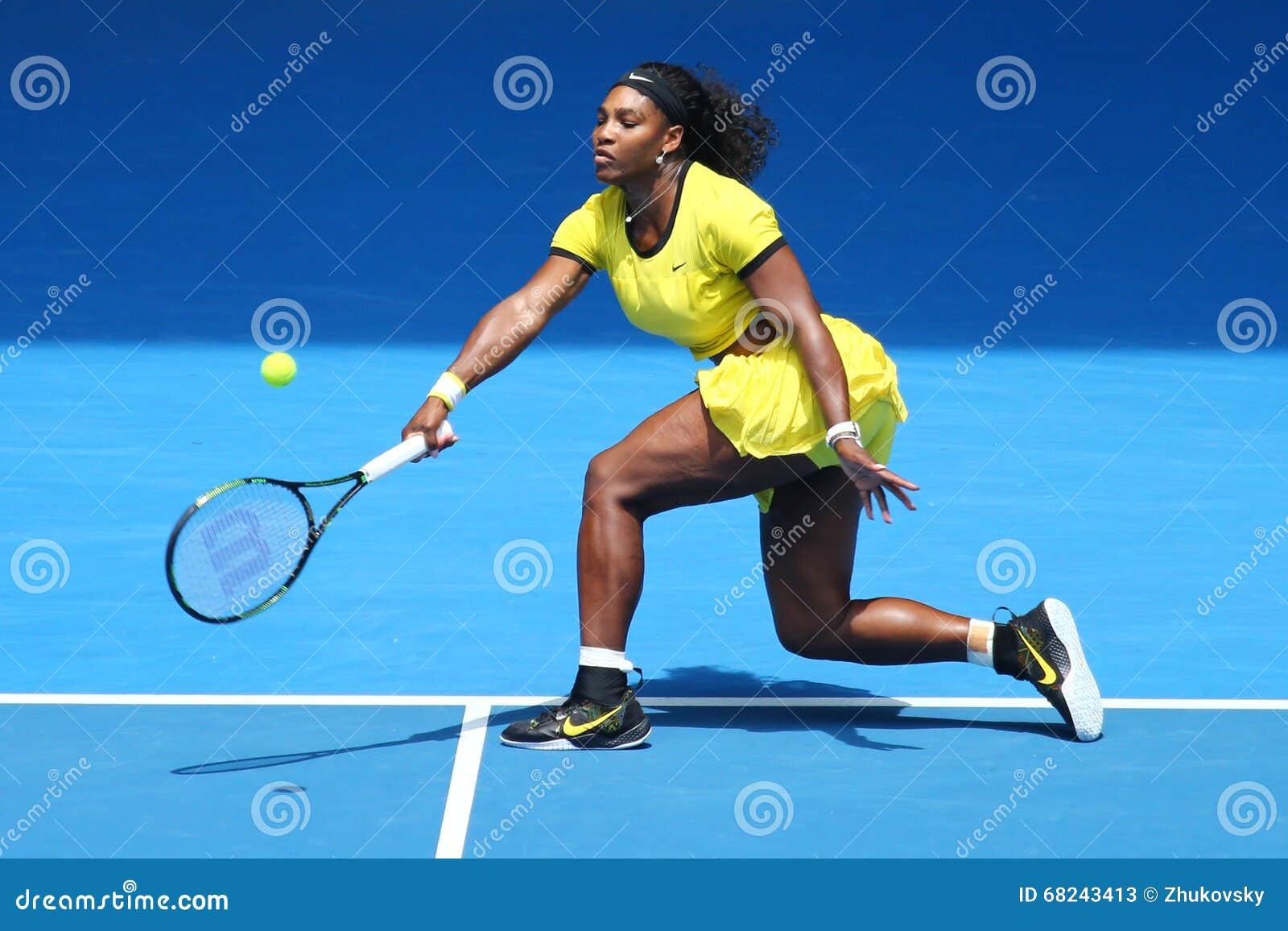Campeón Serena Williams del Grand Slam de veinte un veces en la acción durante su partido final cuarto en Abierto de Australia 20