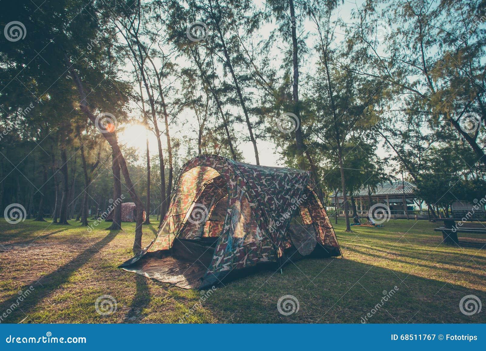 Campeggio e tenda, stile d annata