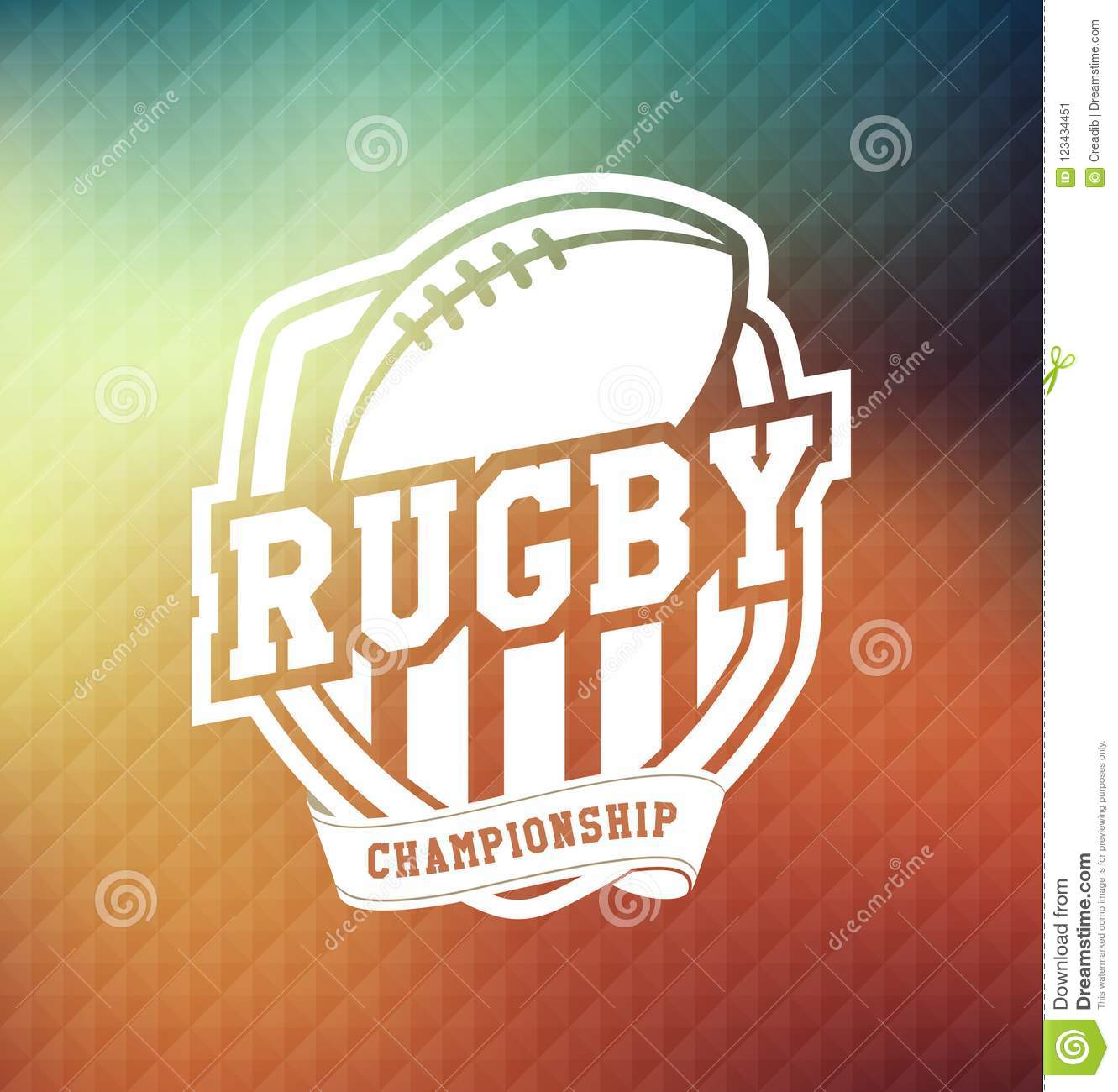 Campeonato Logo Sport Design Template do rugby