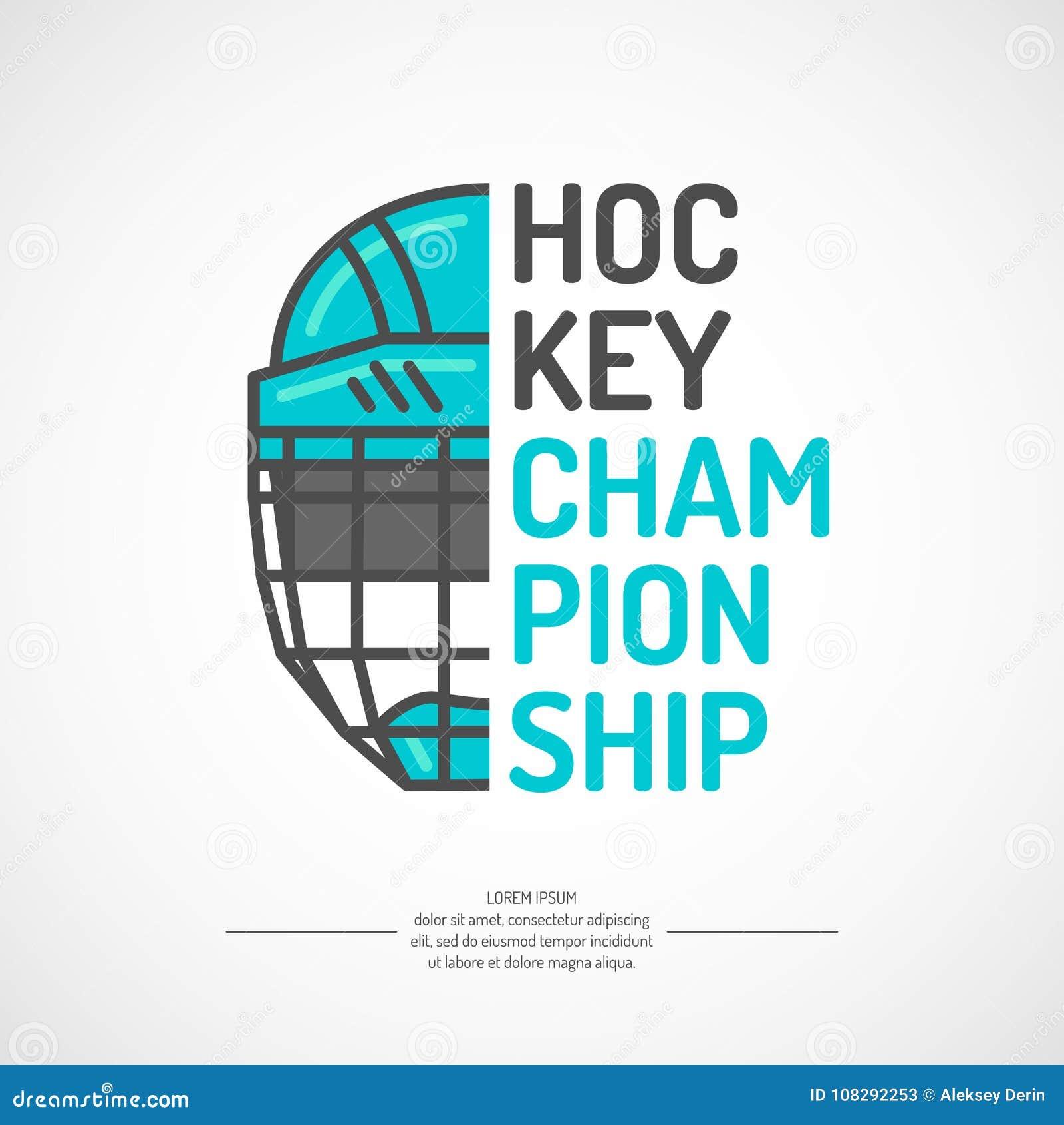 Campeonato moderno do hóquei em gelo do cartaz com o disco no gelo Ilustração do vetor