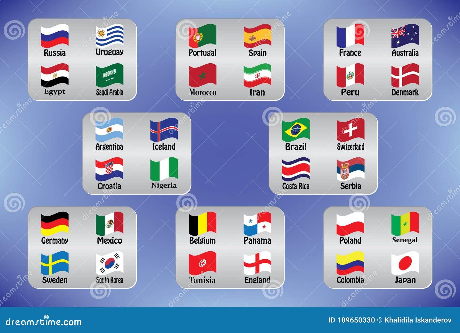 Campeonato mundial Bandeiras do vetor do país 2018 em Rússia