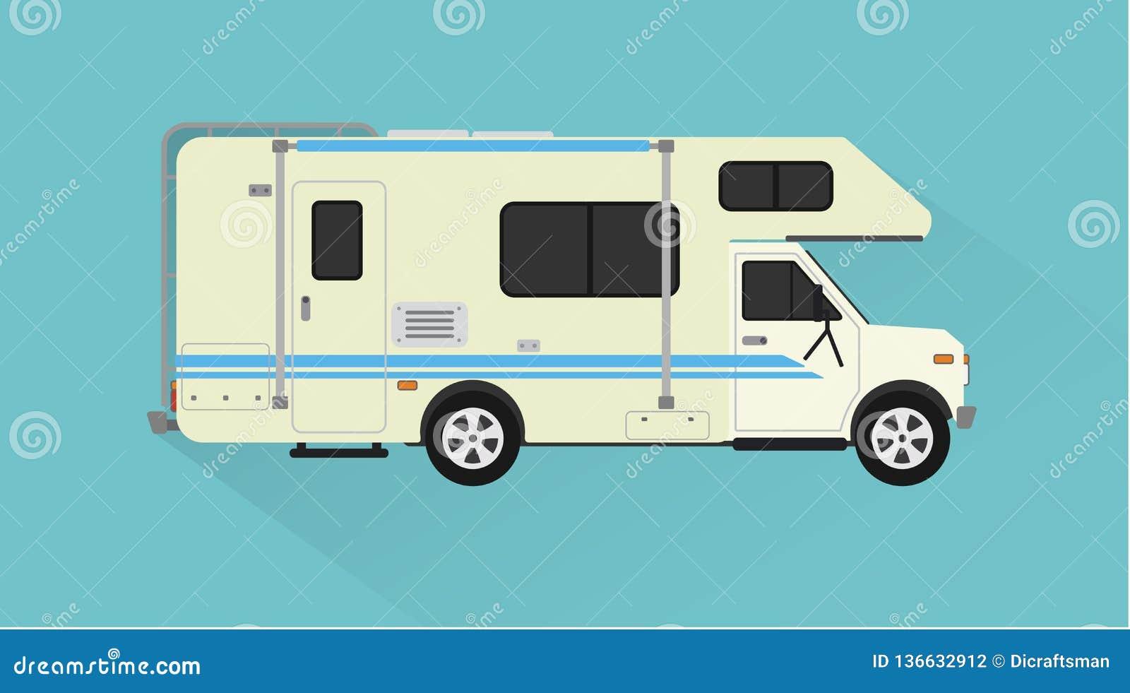 Camper, trailer car design flat style