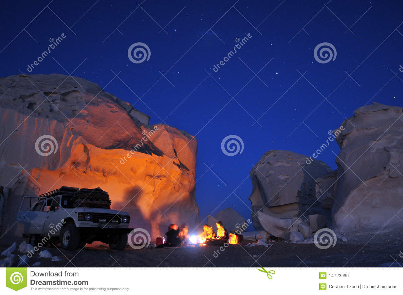 Campfire in the desert