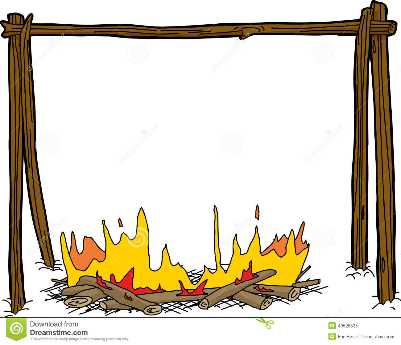 campfire with empty pot holder stock illustration free clip art cooking borders Food Border Clip Art