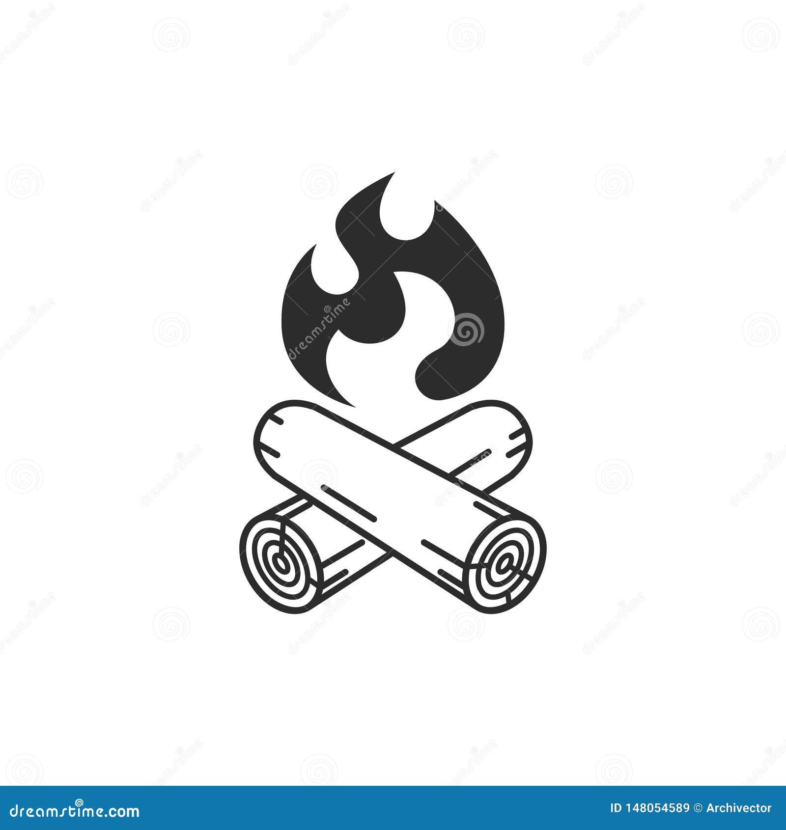 Campfire graphic icon. Camping symbol