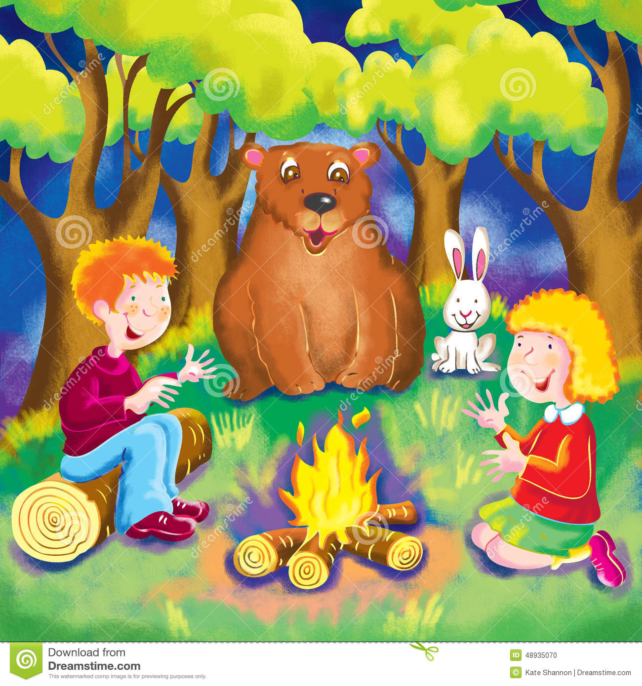 It is a graphic of Unforgettable All Of The Kid Sit Around The Fire Drawing