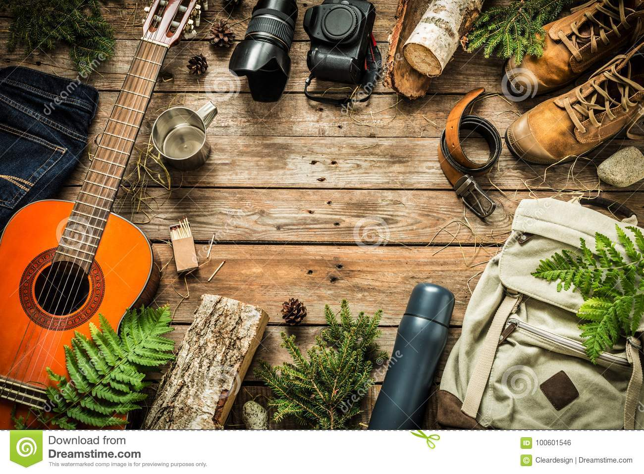 Camping or adventure trip scenery concept top view