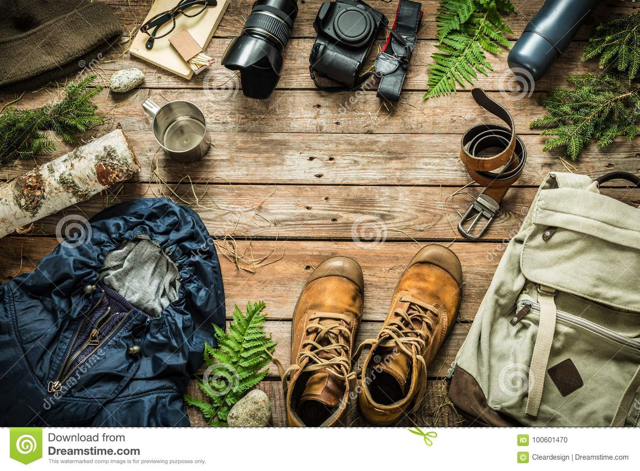 Camping or adventure trip scenery concept flat lay