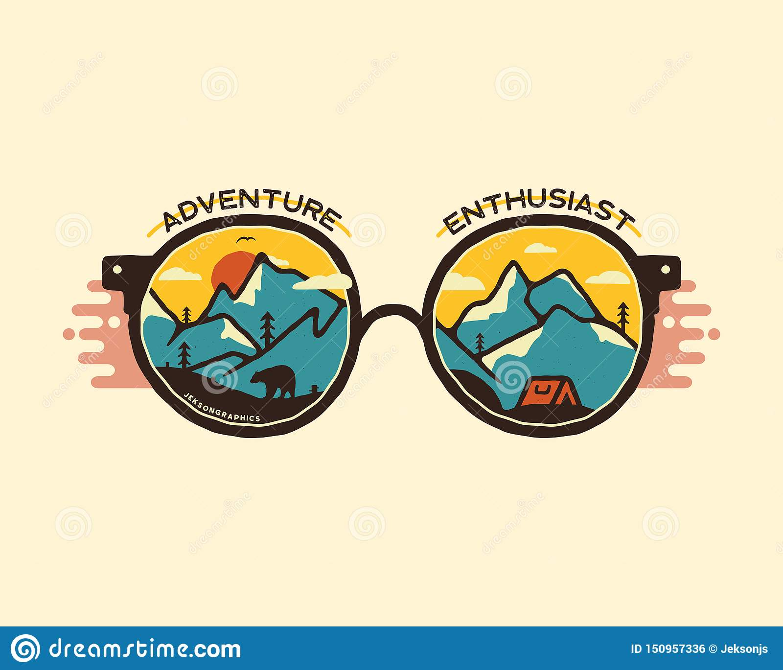 Camping badge illustration design. Outdoor logo with quote - Adventure enthusiast, for t shirt. Included retro mountains