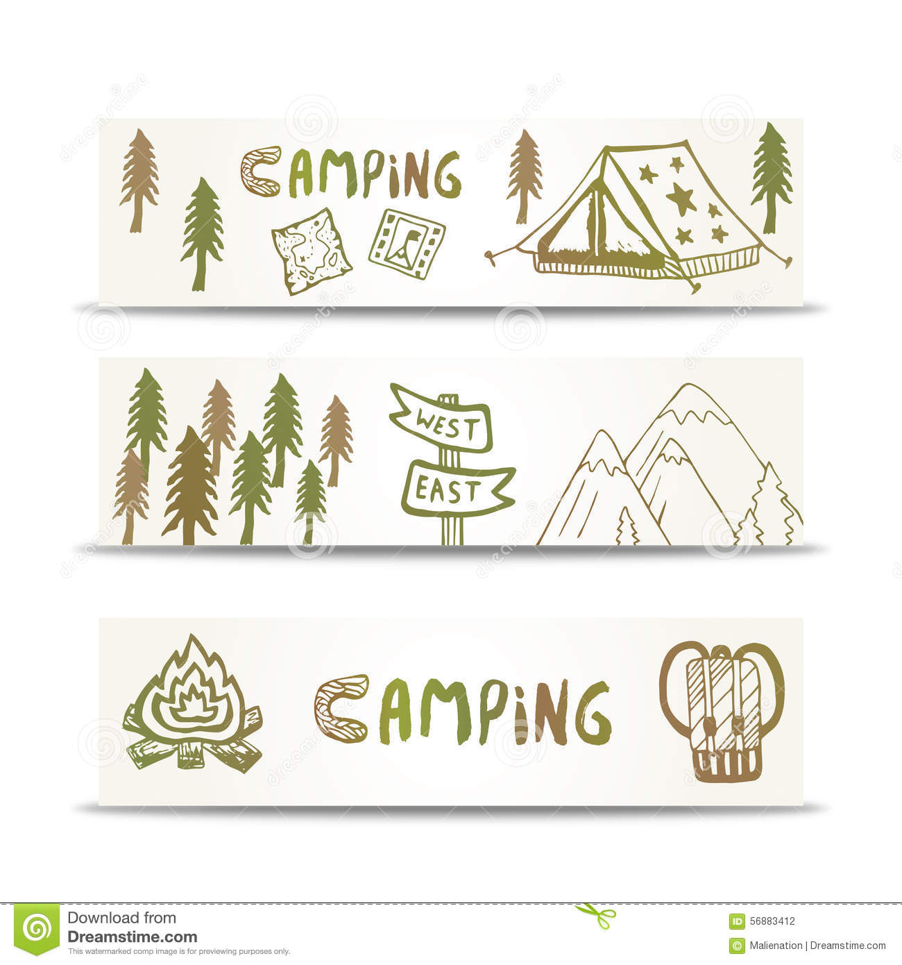 Camping banners horizontal set with mountain and tent. Hand drawn elements on design template.