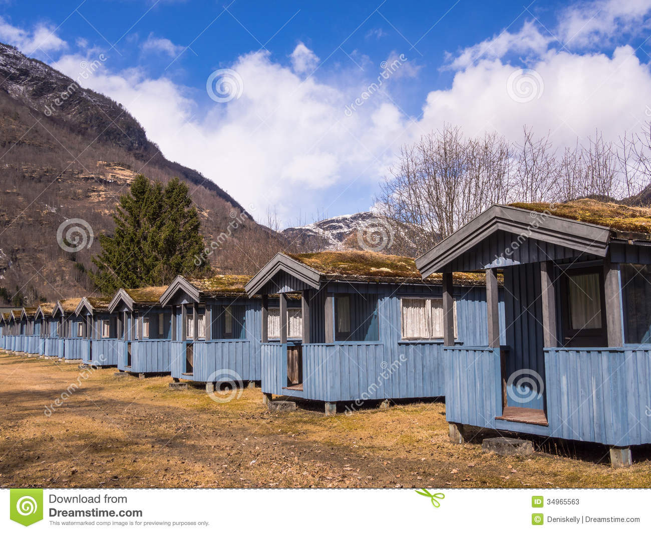 Camping cabins in the mountains stock photos image 34965563 for Camp sites with cabins