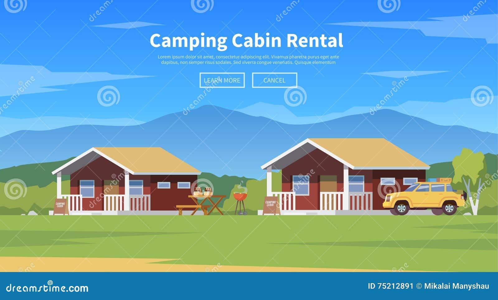 Camping Cabins  Vector Illustration  Stock Illustration