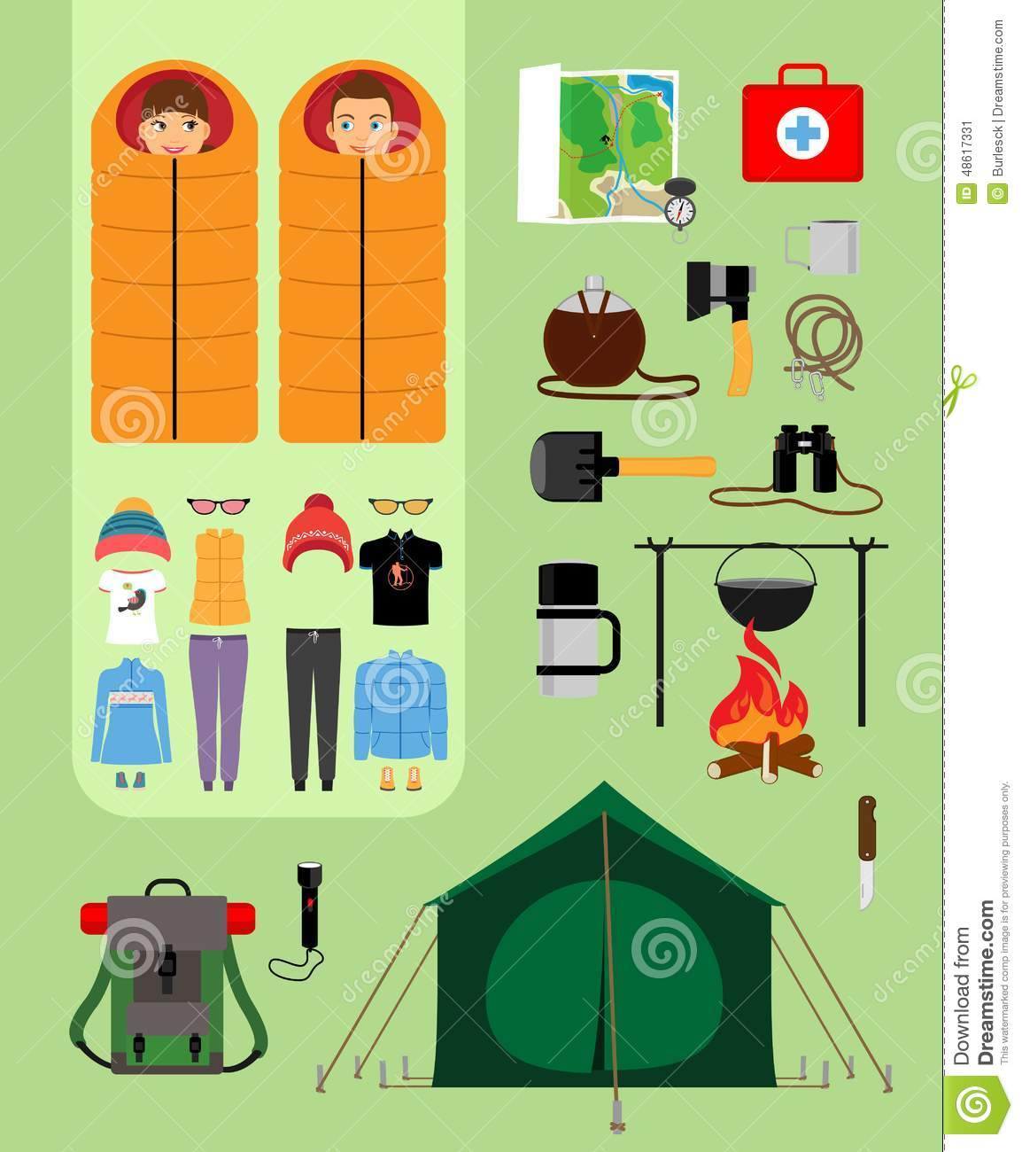 Camping Concept Boy And Girl In Sleeping Bags