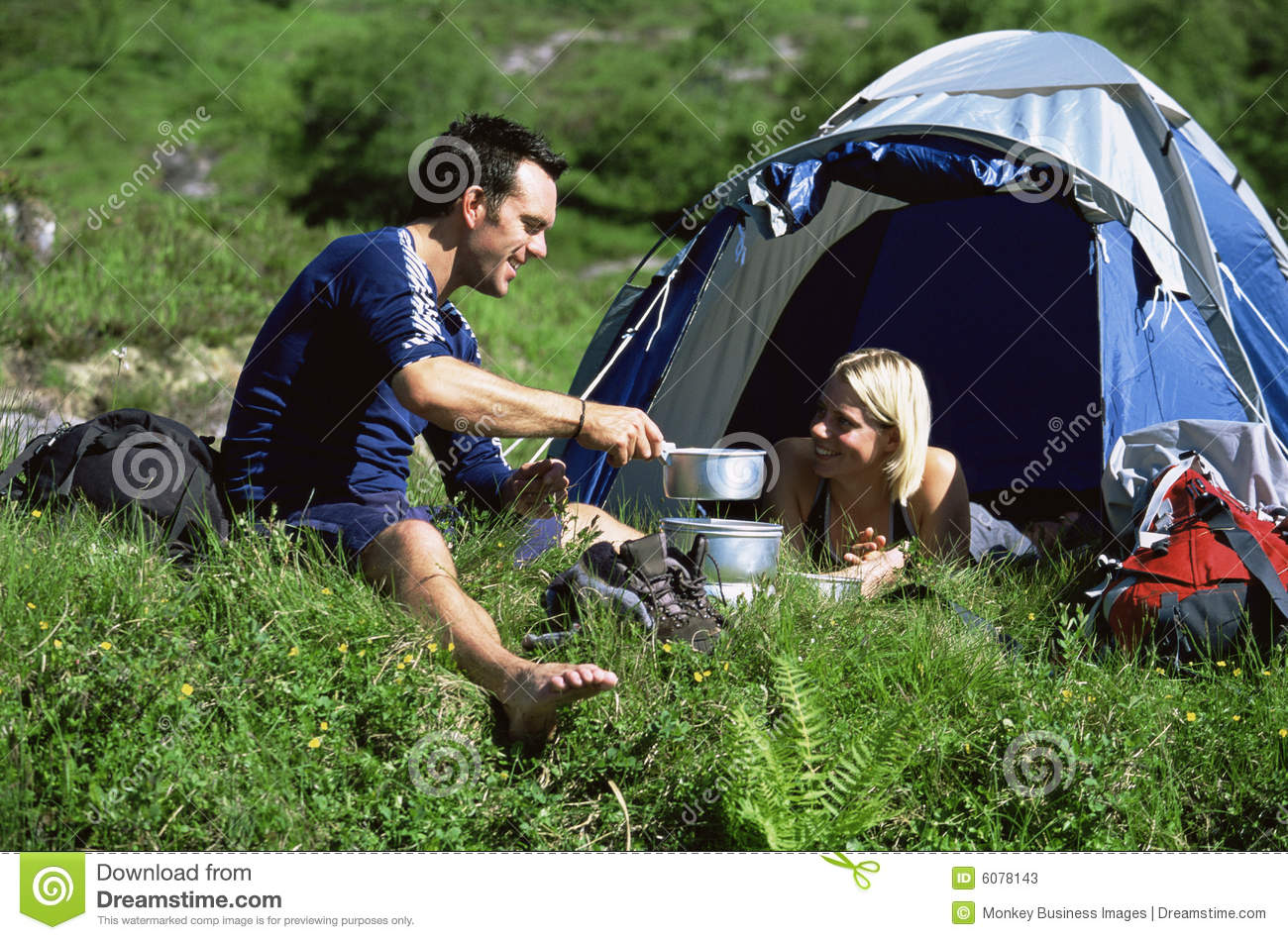 Camping couple great outdoors