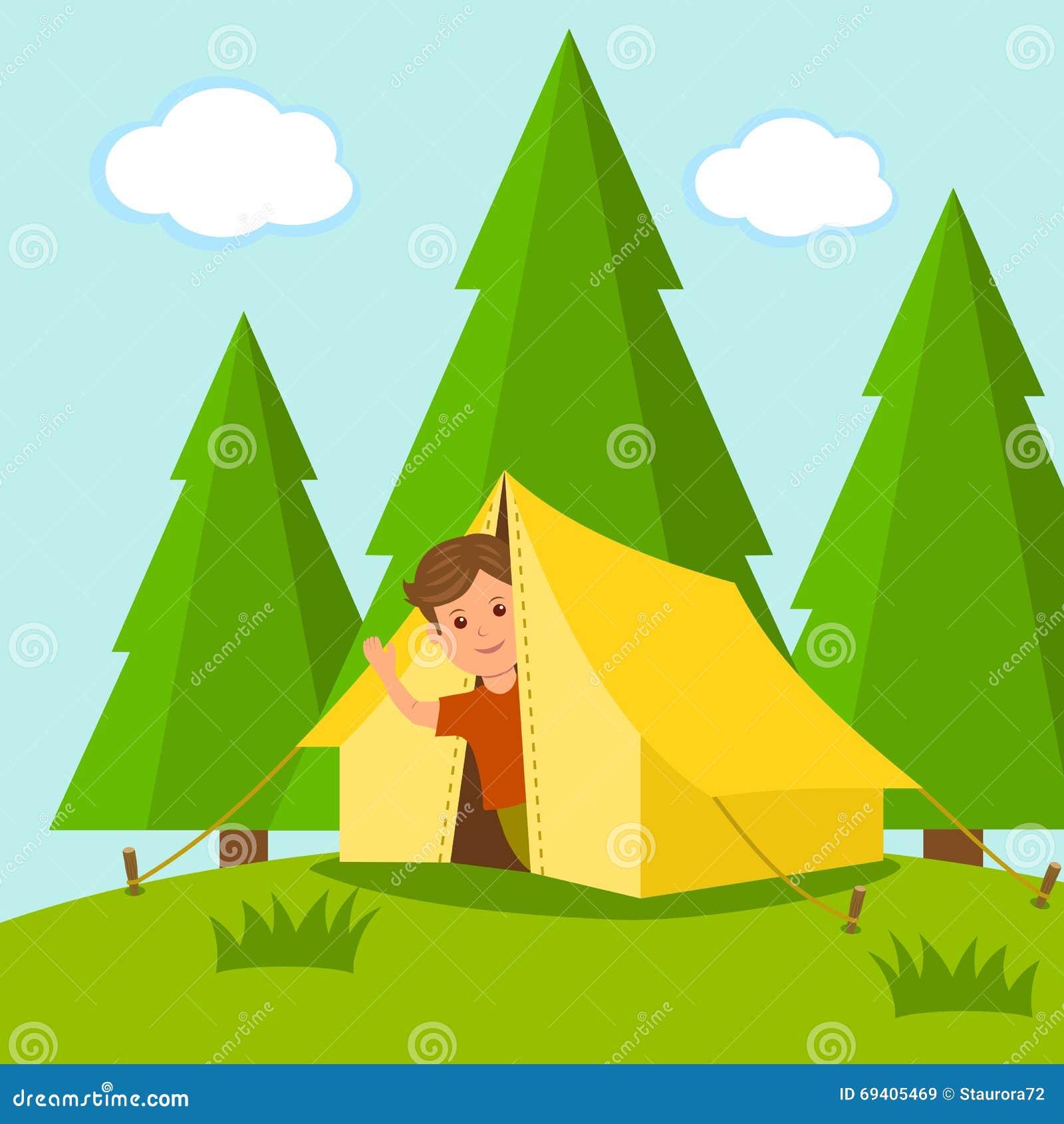 Camping El viajero del muchacho mira fuera de la tienda en el medio de un bosque el concepto de vacaciones de verano al aire libr