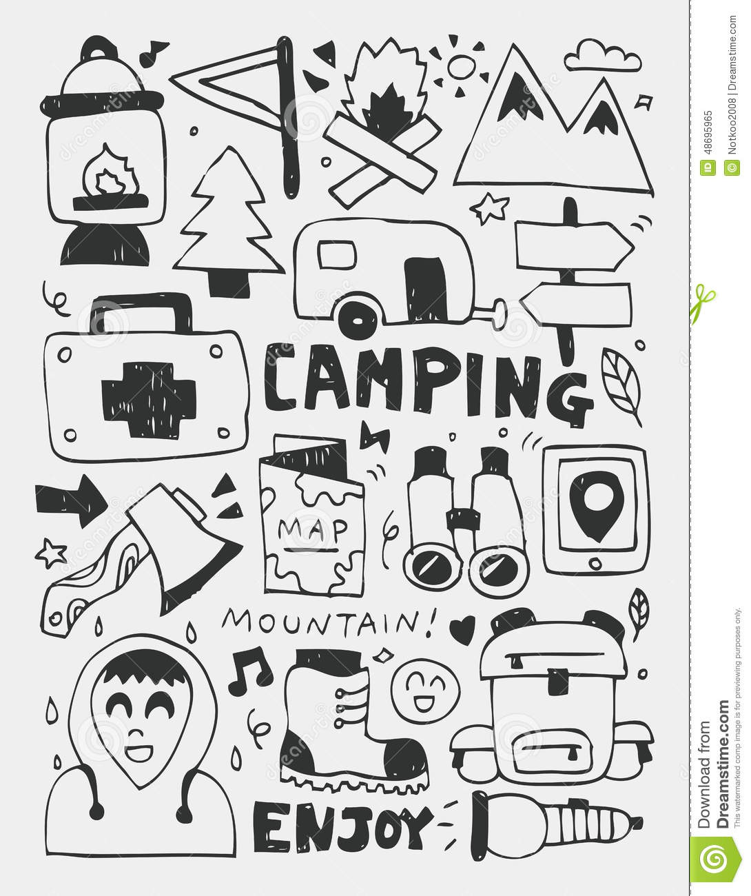Camping Elements Doodles Hand Drawn Line Icon, Eps10 Stock Vector ...