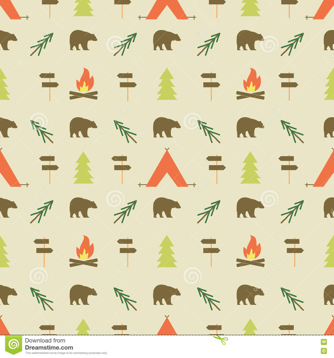 Camping Elements Pattern Camping Seamless Wallpaper Design Stock Vector Illustration Of Equipment Animal 73760815
