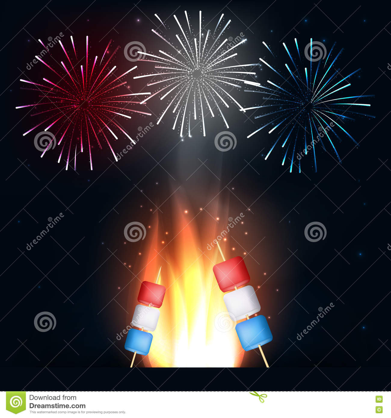Camping fire with american flag marshmallows colors on for Th background color