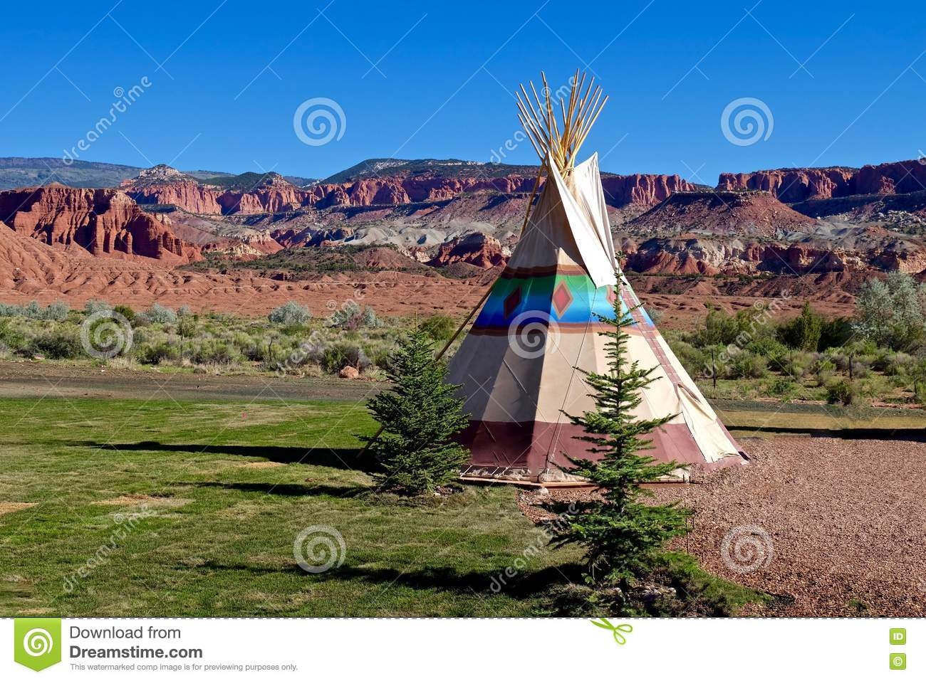 Camping At First Nation Teepee In American Wild West ...