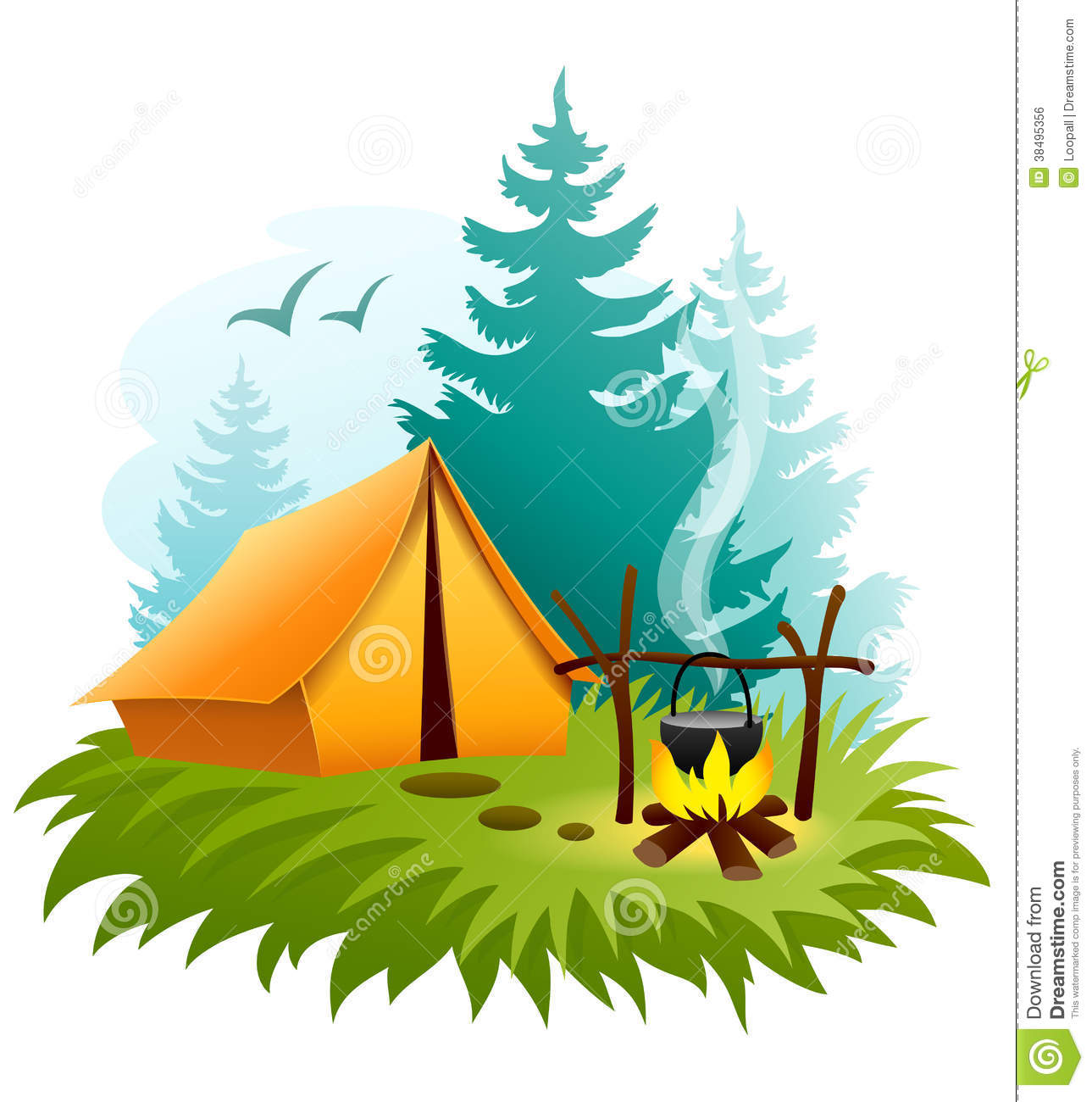 Camping in forest with tent and campfire. Eps10 vector illustration ...