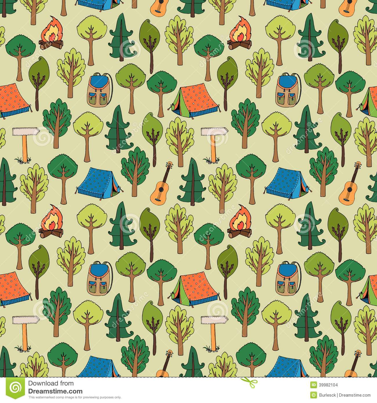 Camping and hiking background seamless pattern of tents in a forest of ...