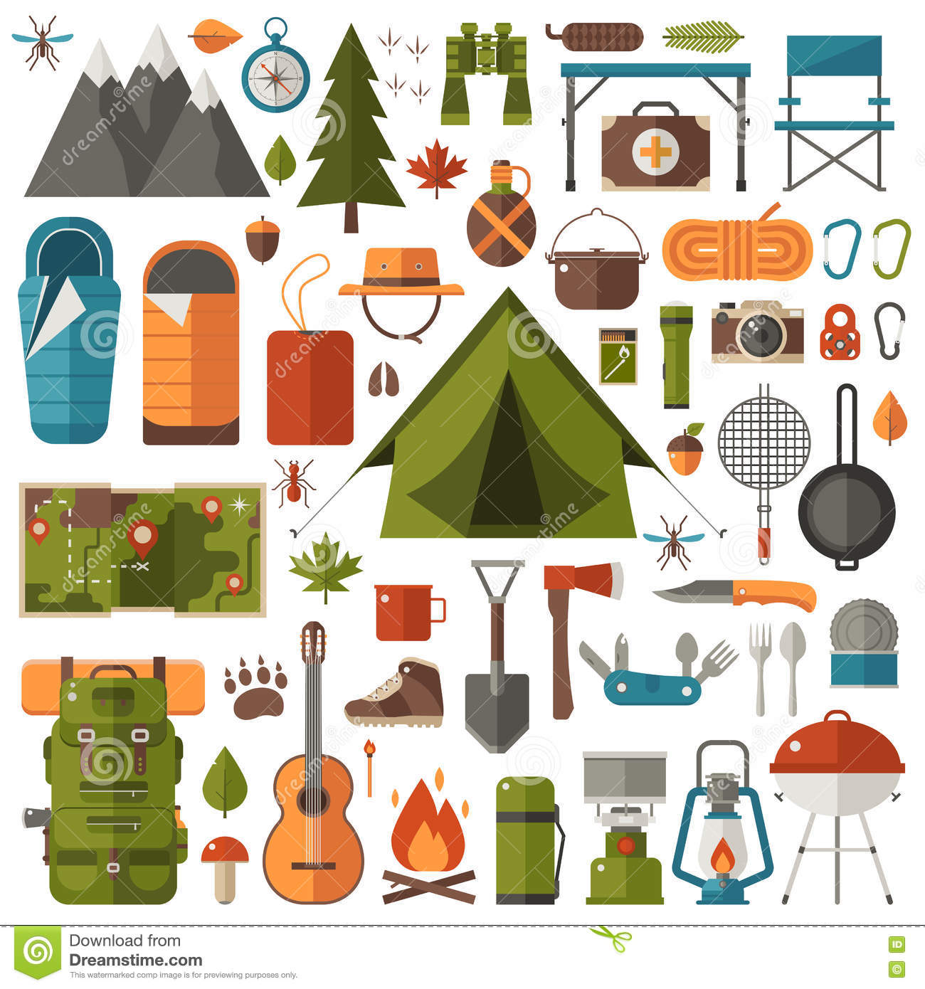 Camping And Hiking Equipment Set Stock Vector