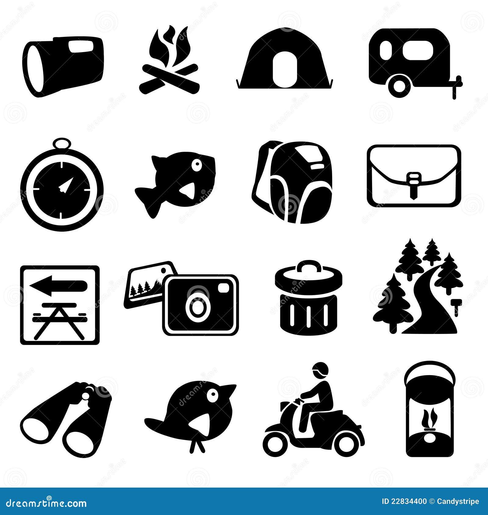 Camping Hiking Icon Set Stock Photo Image 22834400