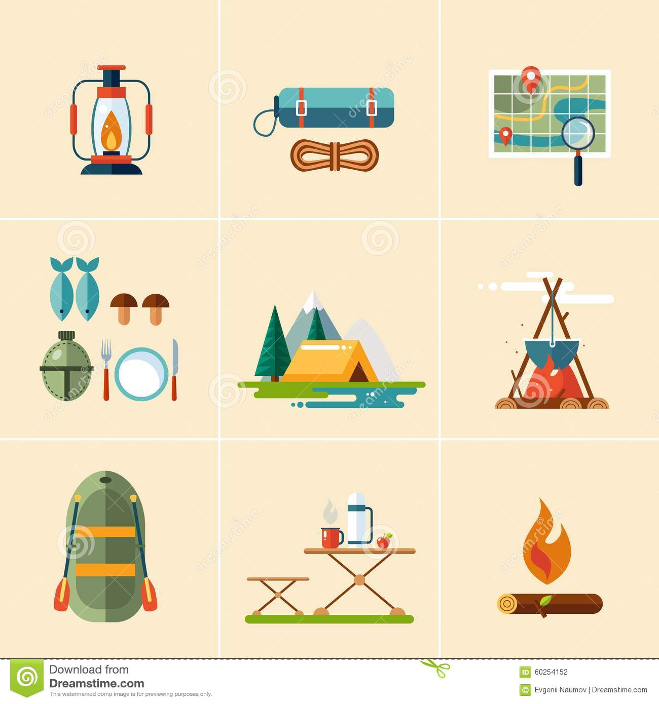 Camping And Hiking Icons. Flat Design Stock Vector - Image ...