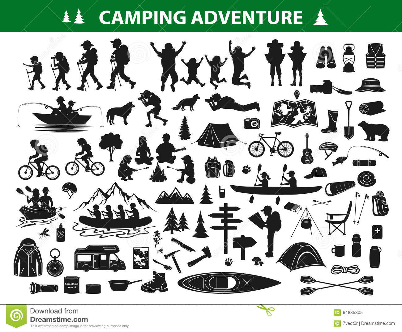 Camping Silhouette Stock Illustrations – 4,103 Camping ...