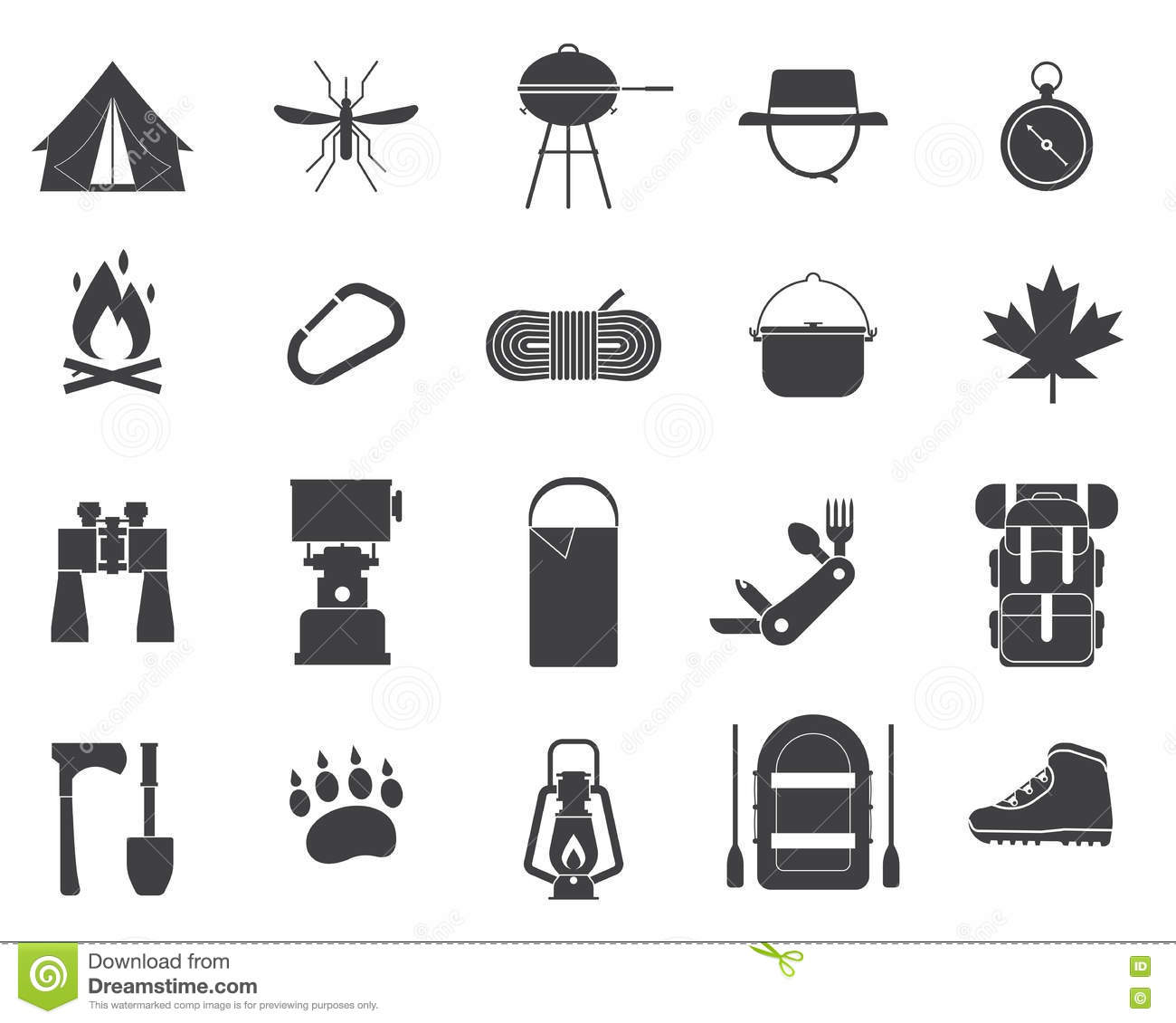a290feba6f Camping And Hiking Vector Icons Stock Vector - Illustration of ...