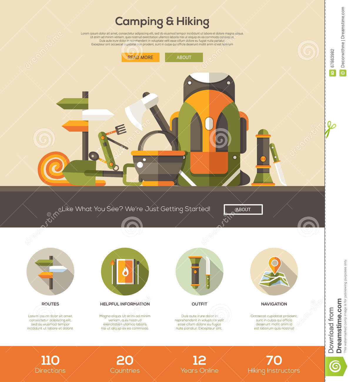 Camping, Hiking Website Template With Header And Icons