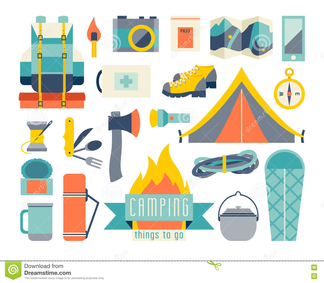 Camping Icon Set Adventure Hiking Kit And EquipmentTent Camp
