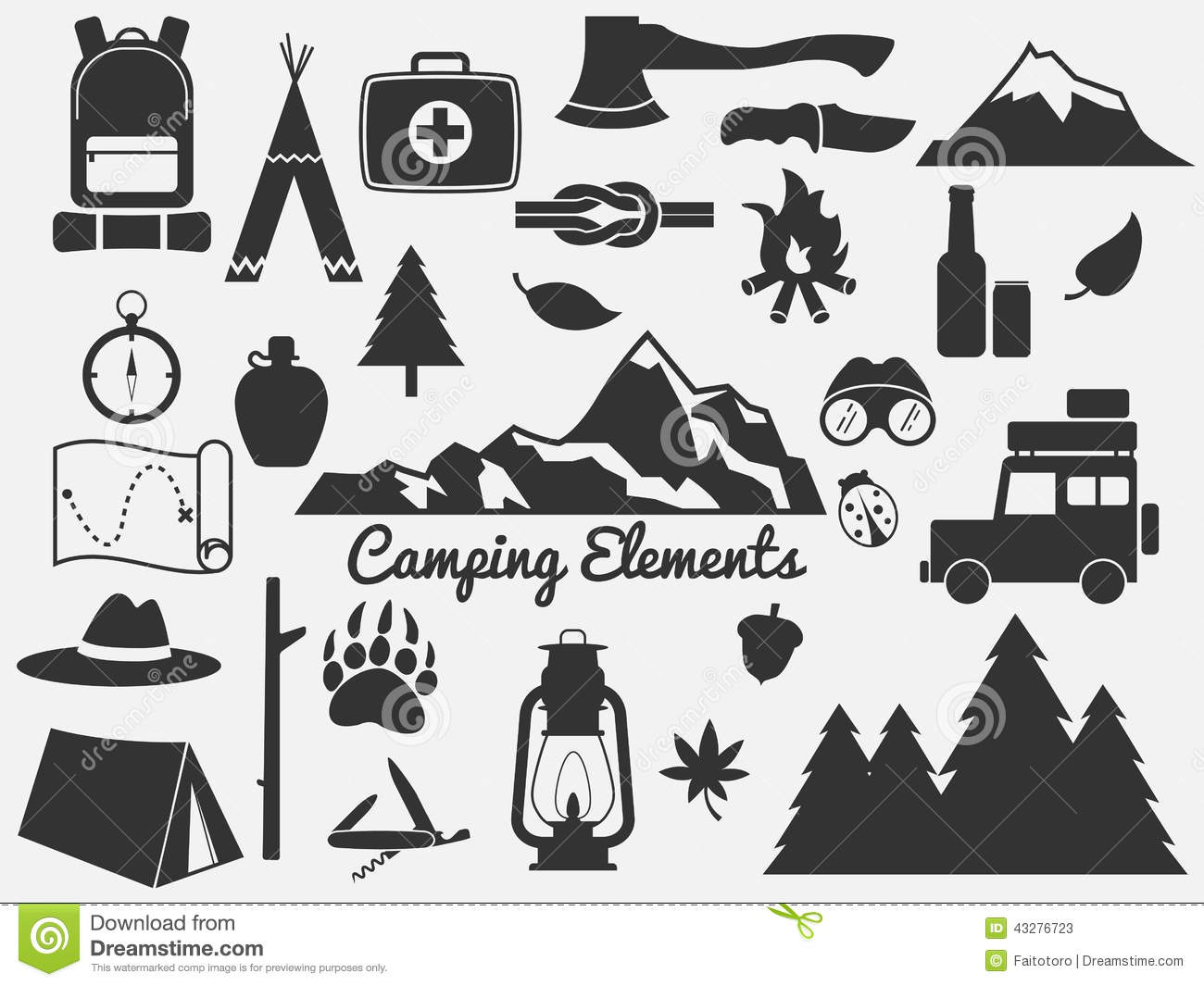 Camping Icon Set Stock Vector Illustration Of