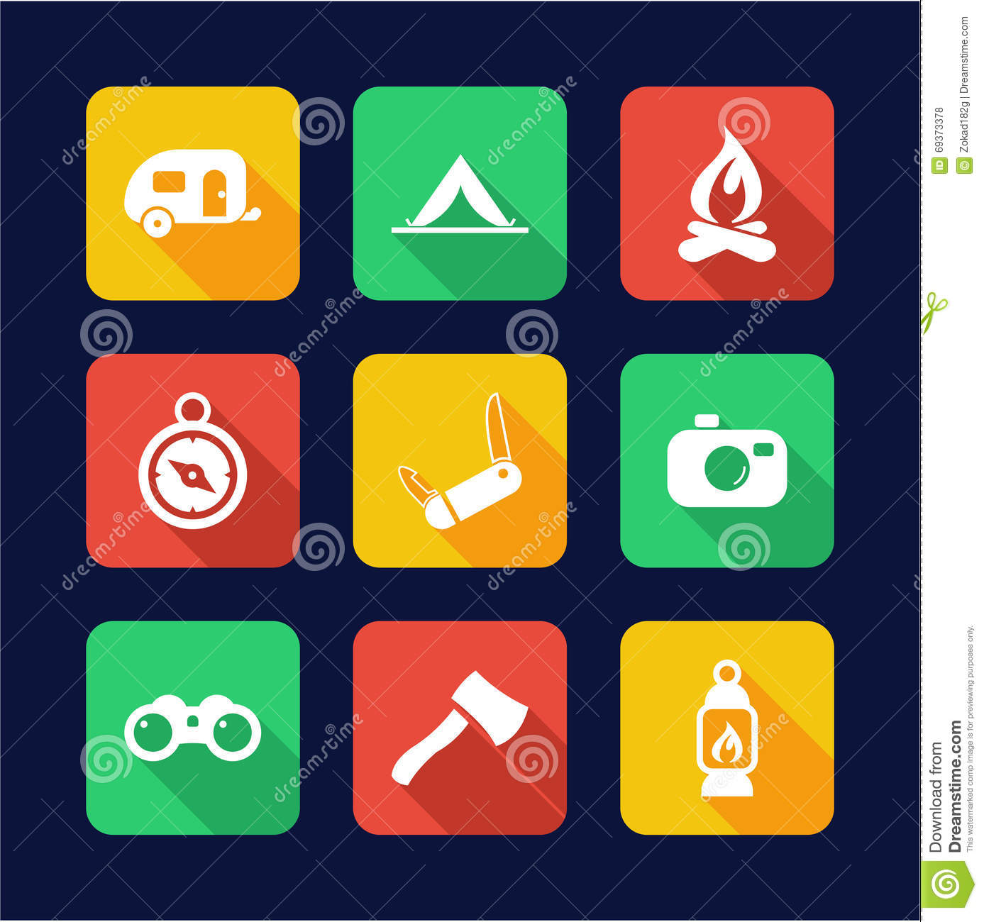 Fishing Icons Flat Design Vector Illustration ...