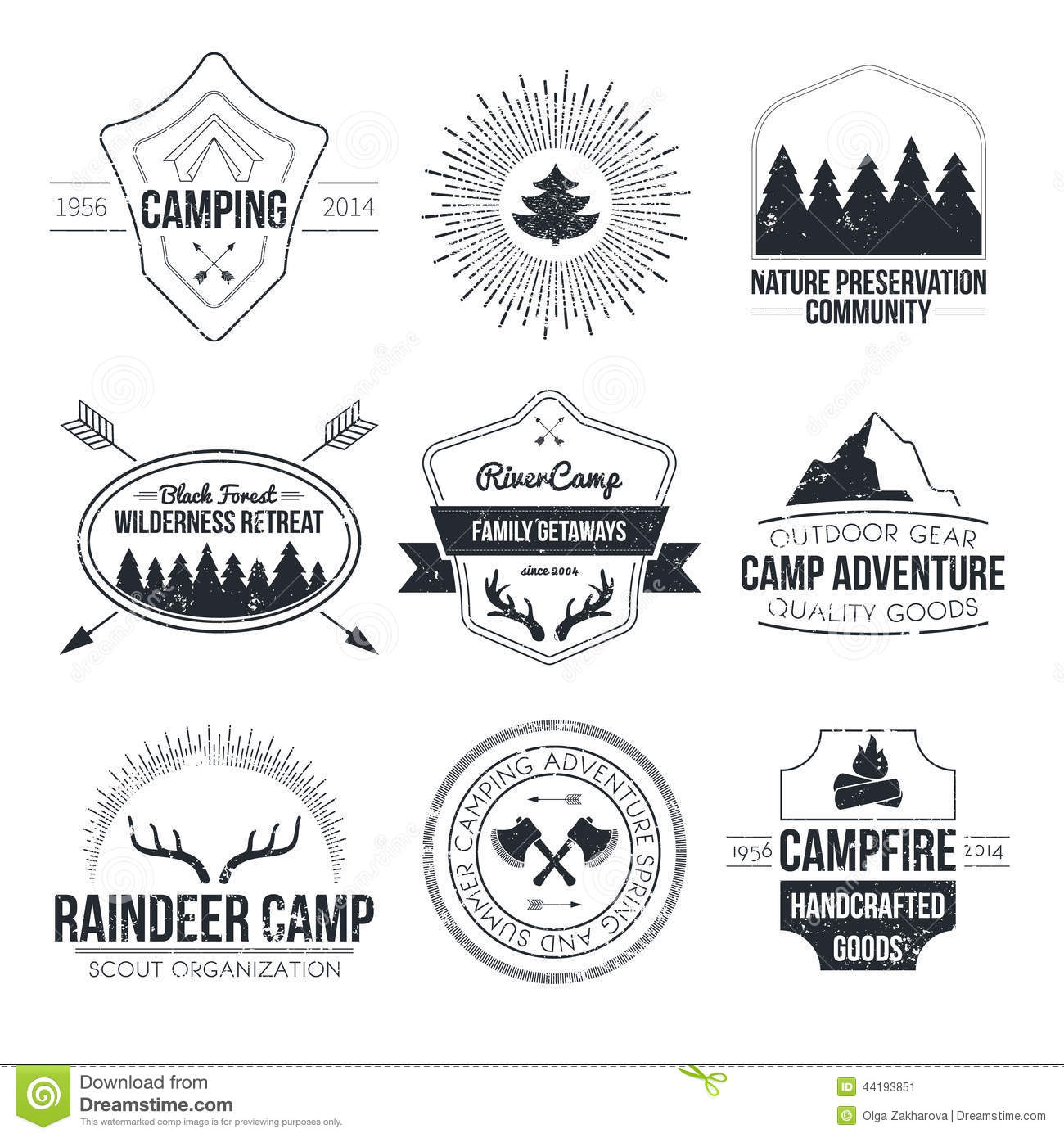 Set Of Retro Vintage Camp Labels And Logo Graphics By Mike McDonald Via Shutterstock