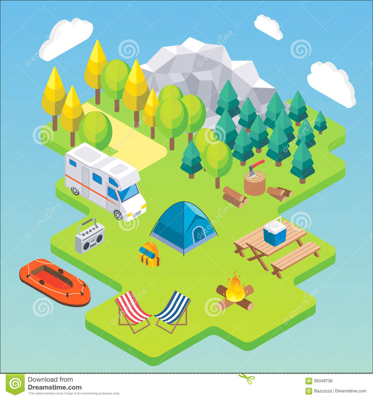 Camping isometric concept. Vector illustration in flat 3d style. Outdoor camp activity. Travel by camper in mountains