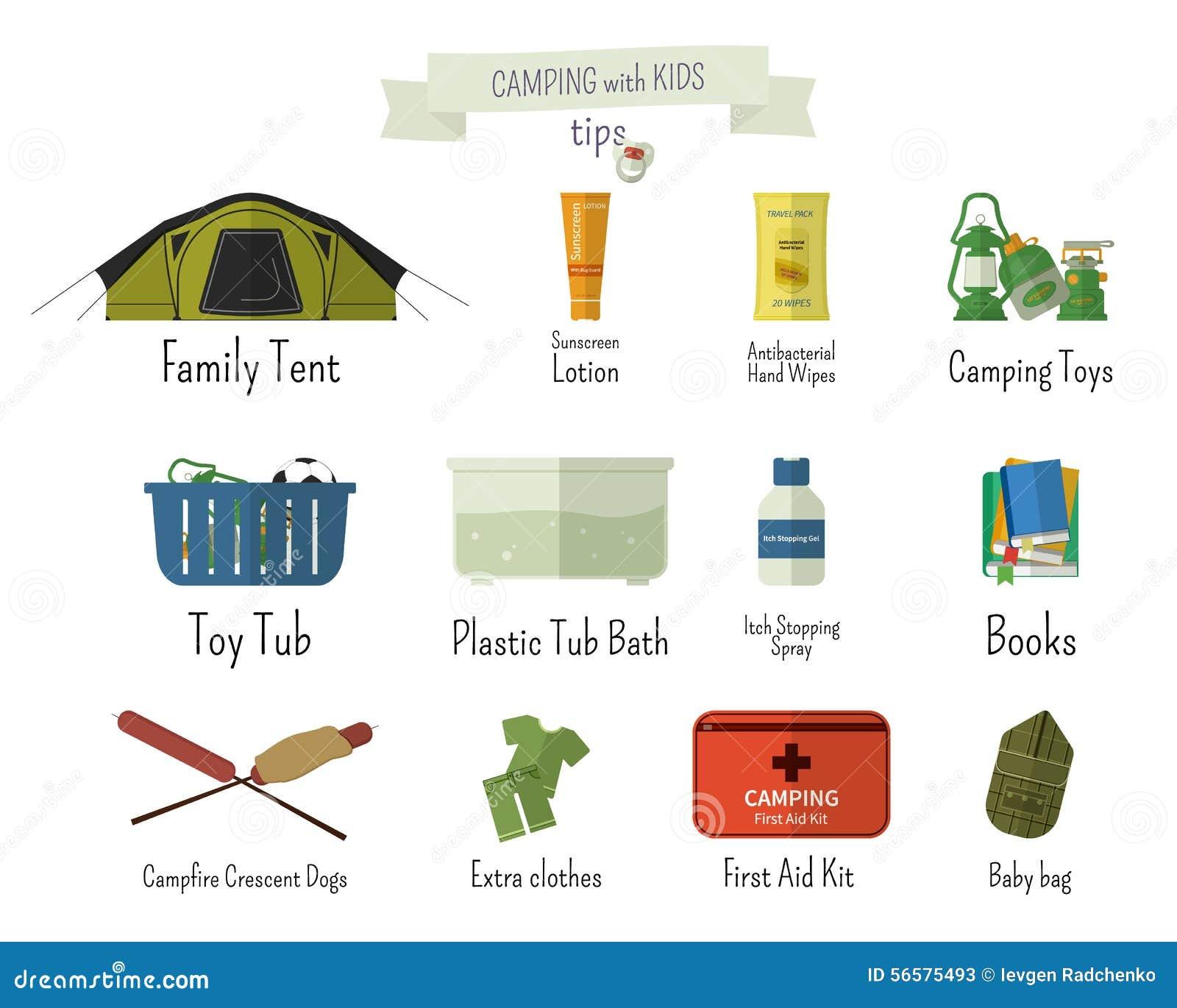 Stock Illustration Camping Kids Tips Set Flat Adventure Traveling Elements Symbols Text Signs Summer Outdoor Design Campsite Image56575493 on Clothes Worksheet For Kids