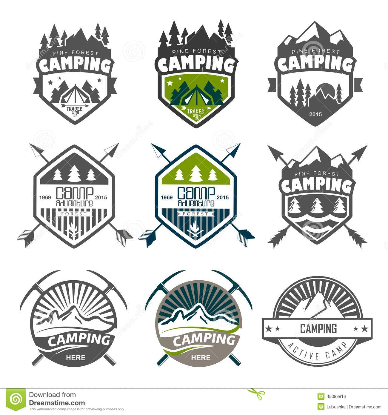 Camping logo, labels and badges. Travel emblems.