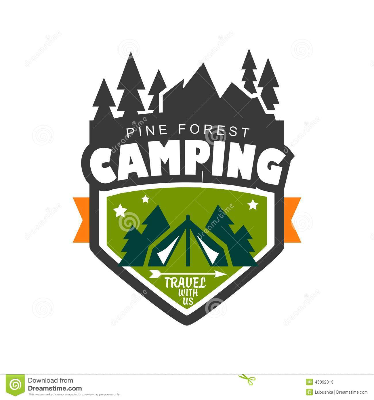 Camping stock vector. Illustration of emblem, logo, fire