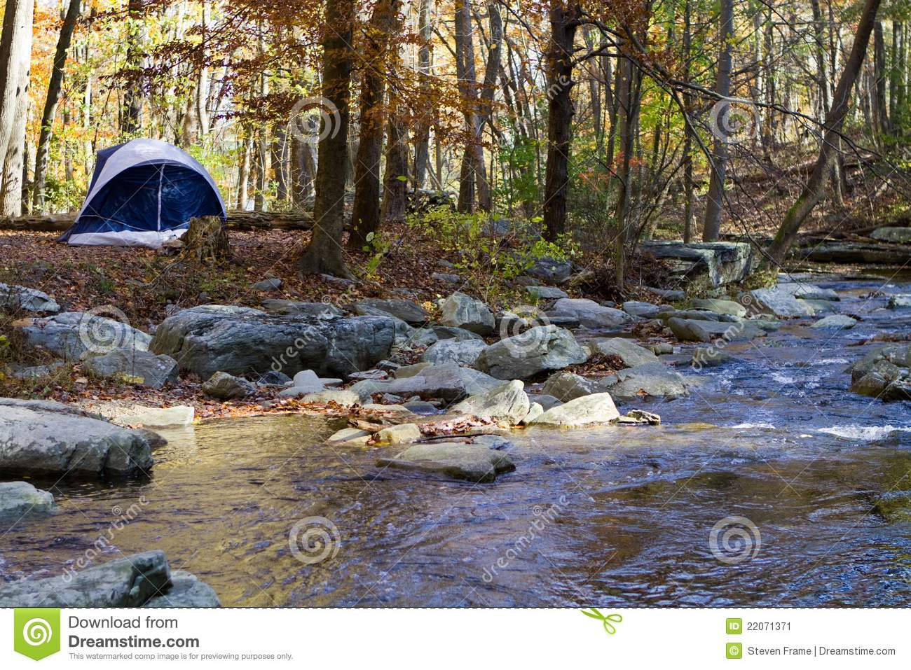 Camping By Mountain Stream