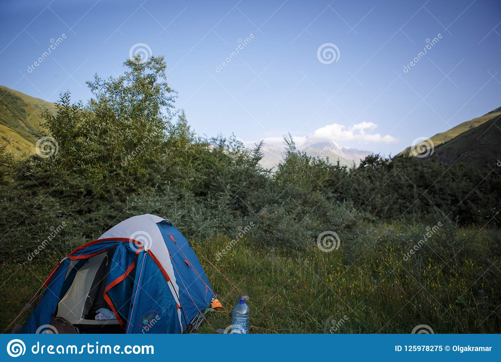Camping in nature, in the mountains of Georgia, Borjomi in summer