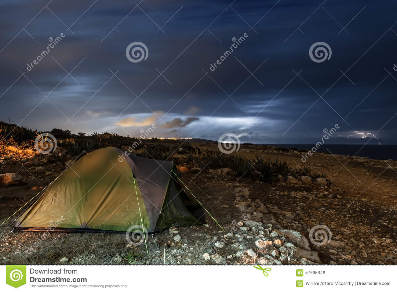 Camping out in the Storm stock photo. Image of climatology ...