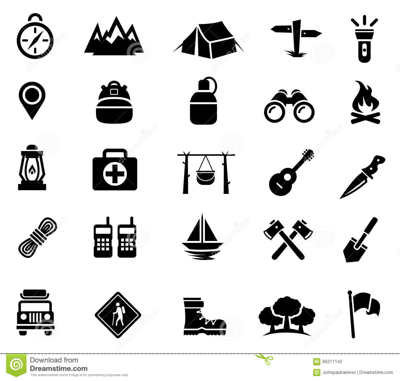 Vector Illustration of Camping and Recreation Icons. Best for Travel ...