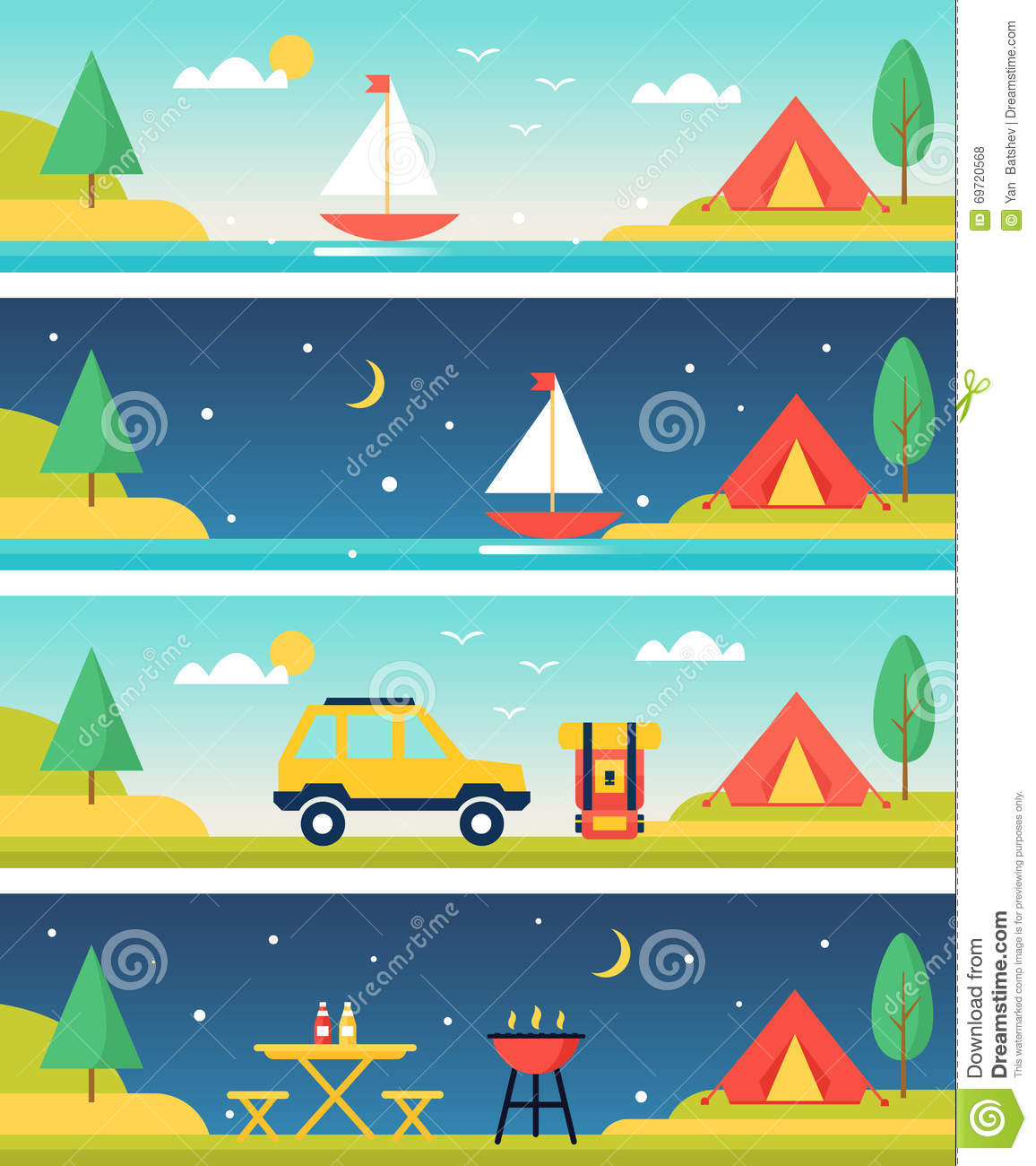 Camping And Outdoors Activities Landscapes Vector Headers
