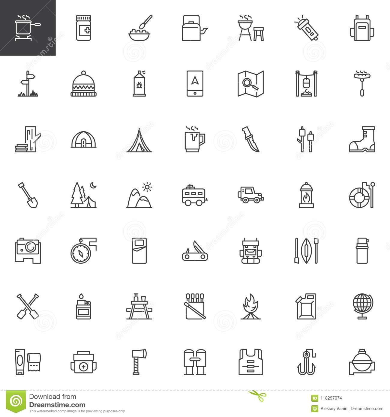 Camping outline icons set