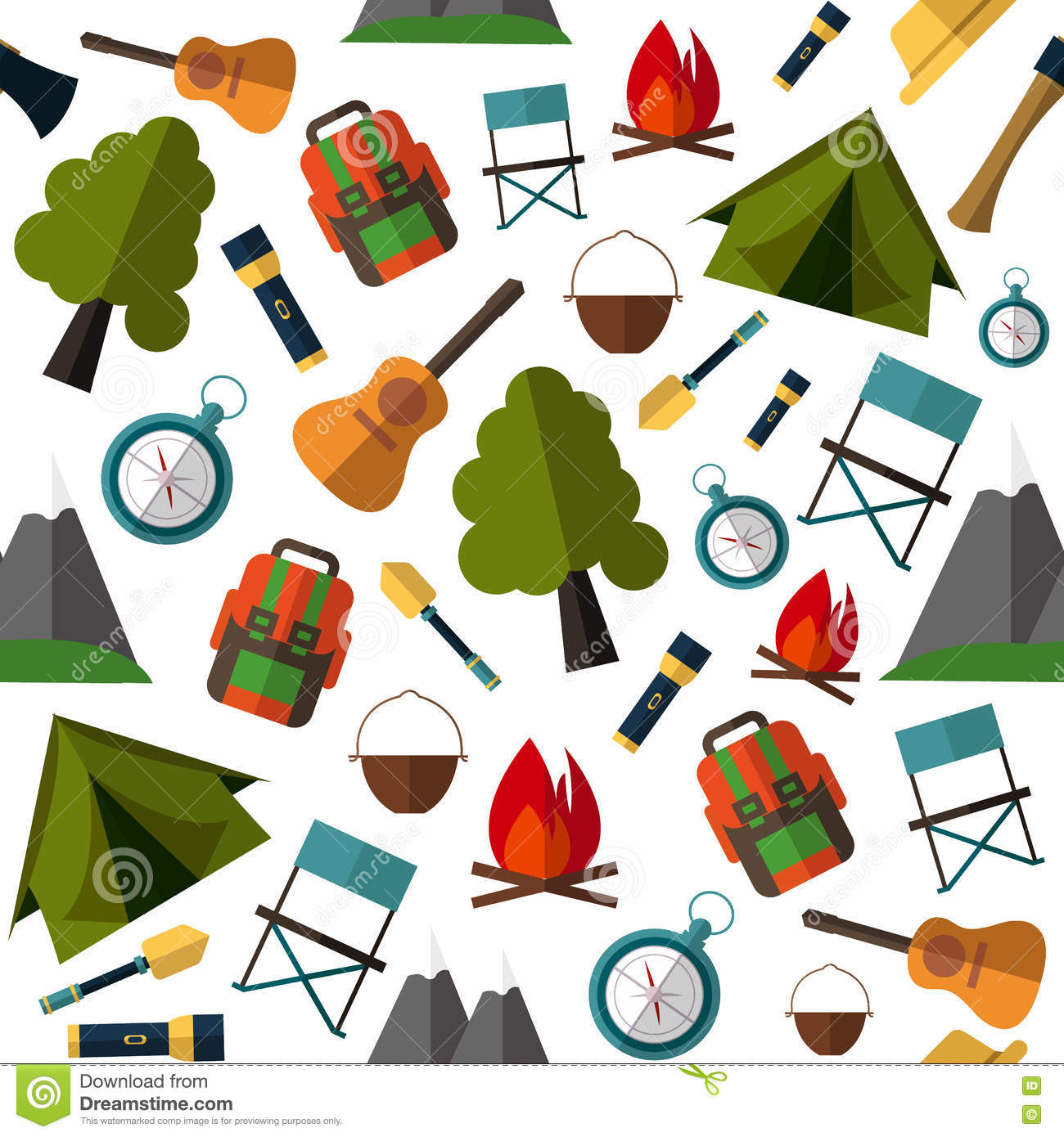 low priced f63b6 7750b Camping Pattern. Tent, Map, Compass, Backpack, Stock Vector ...