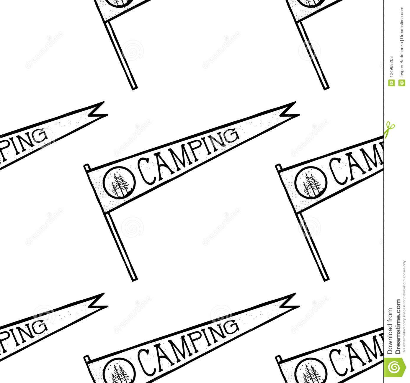 Camping Pennant Seamless Pattern Monochrome Line Art Hipster Style